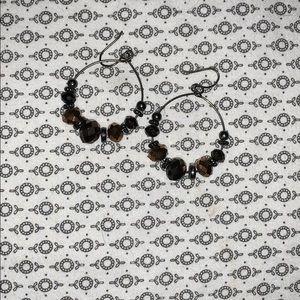 Brown and black hoop earrings